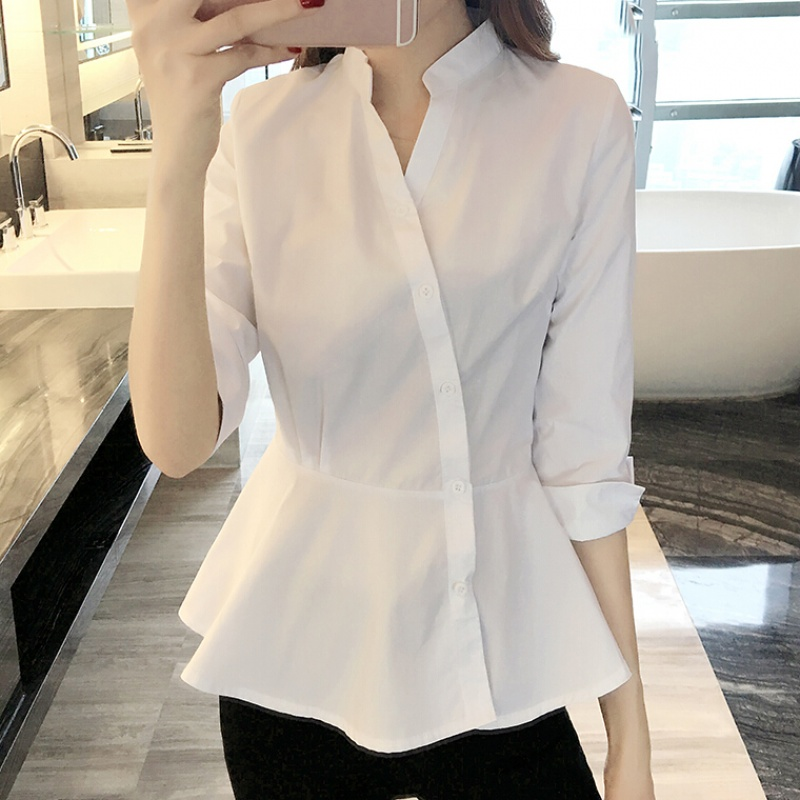 衬衫女装秋装宽松秋季白色时尚气质中袖上衣优惠券