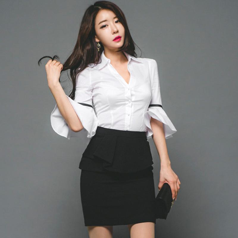 修身显瘦喇叭袖v领白衬衫单排扣职业衬衣优惠券