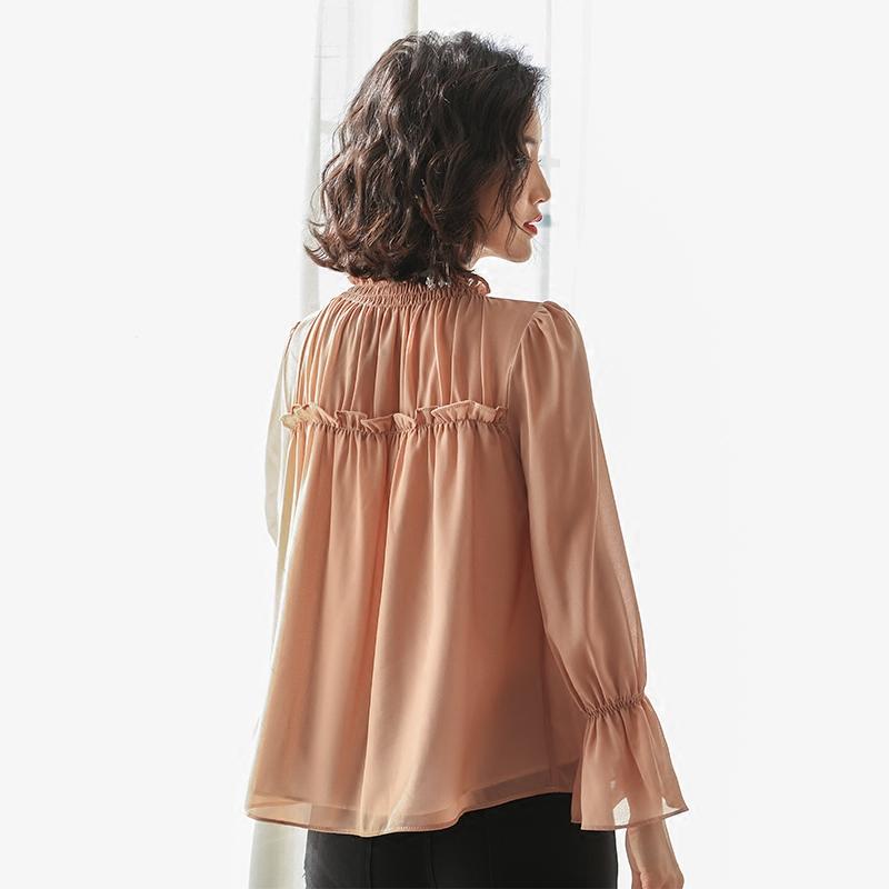 新款荷叶袖雪纺衫时尚遮肚子长袖优惠券