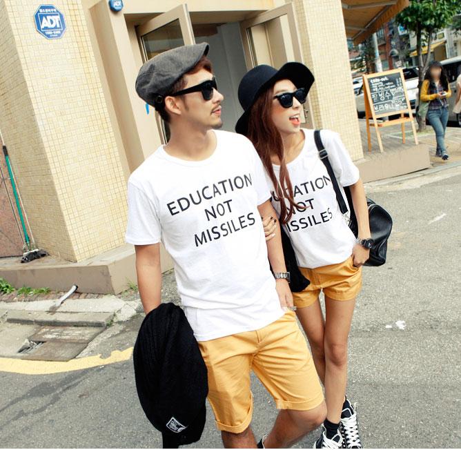 夏装沙滩情侣装宽松短袖字母T恤套装优惠券