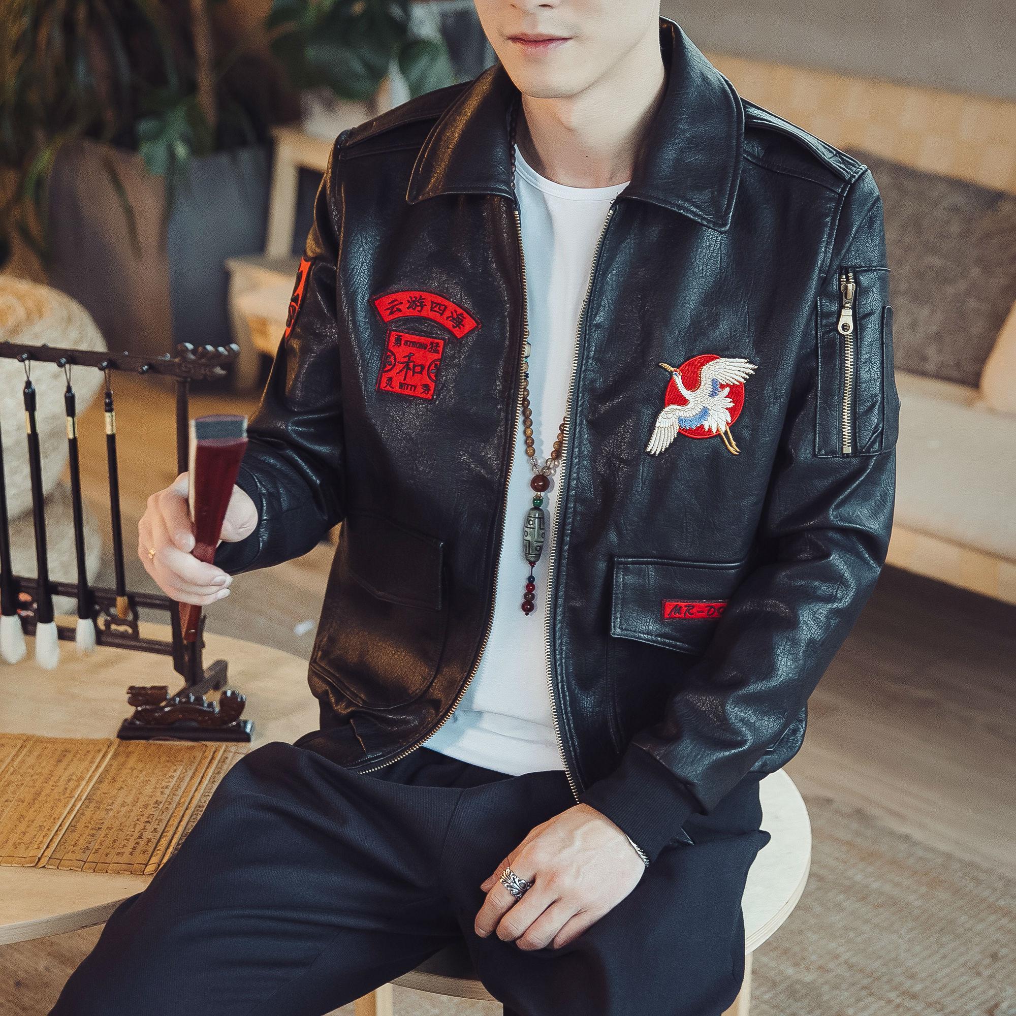 中国风贴布皮衣男装基础皮夹克优惠券