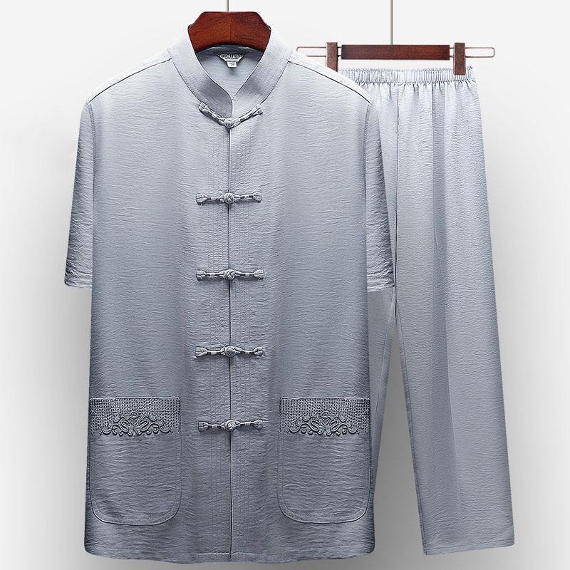 唐装男短袖套装夏装中老年人中年中国风男装优惠券