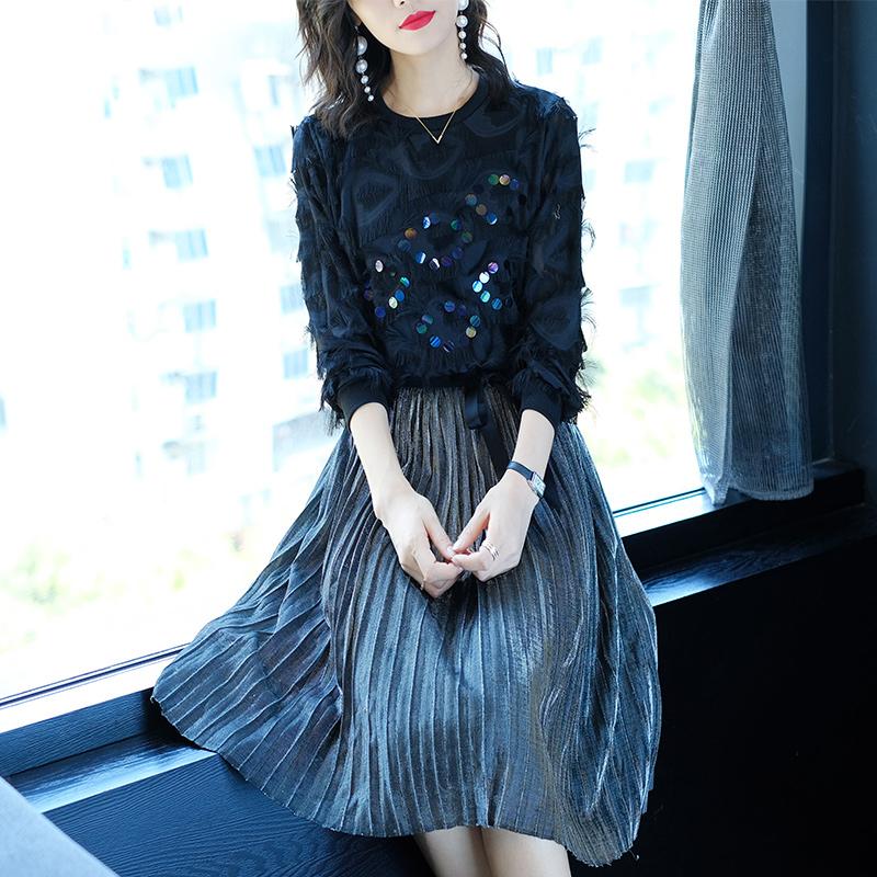 秋季新款黑色亮片连衣裙优惠券