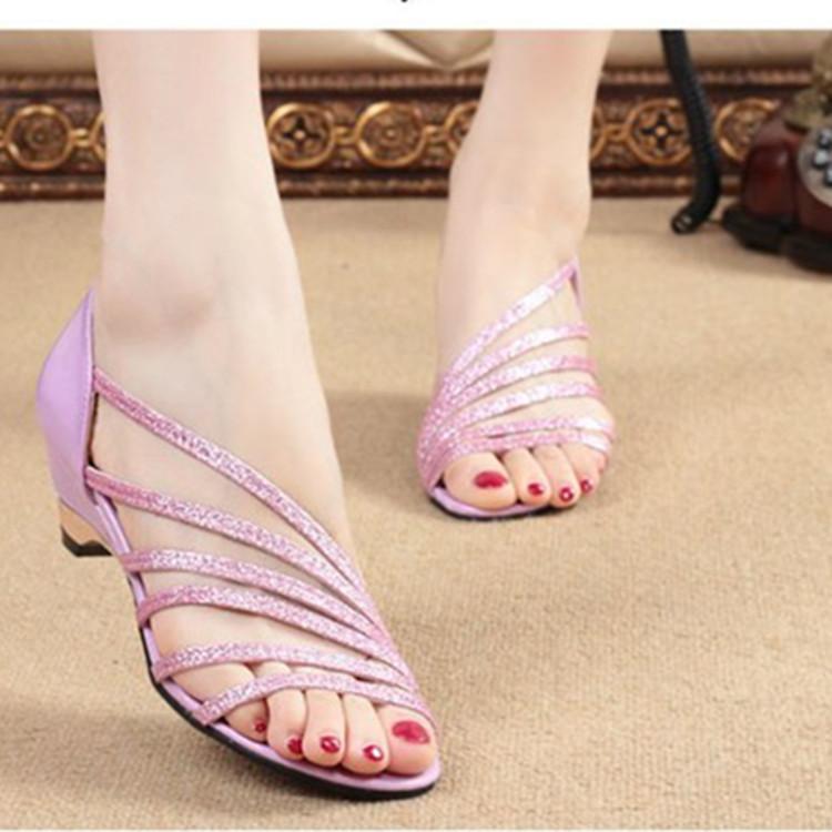 ESX亮片鱼嘴女凉鞋坡跟低跟女鞋 S优惠券