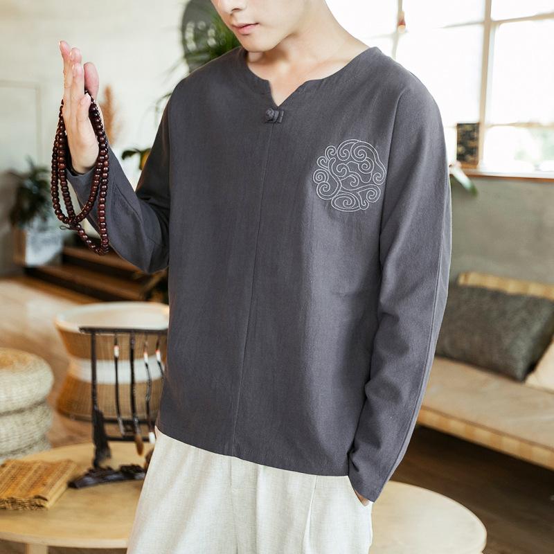 中国风男装唐装刺绣亚麻盘扣V领长袖T恤大优惠券