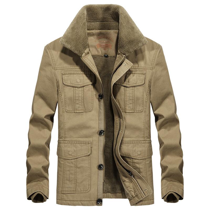 新款秋冬季加绒加厚棉衣大码棉袄翻领夹克优惠券