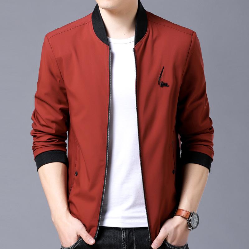 新款男式休闲夹克韩版修身潮棒球服薄款纯士优惠券