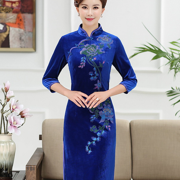 印花金丝绒旗袍改良版中老年大码优惠券