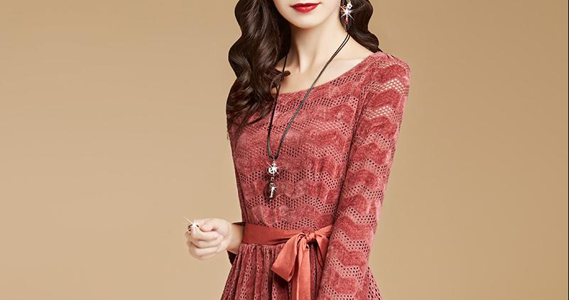女装气质植绒镂空连衣裙优惠券