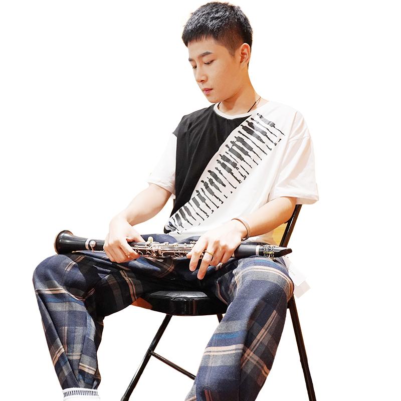 【黑白调】男款圆领 短袖t恤 MUSICFANS 钢琴键设计款
