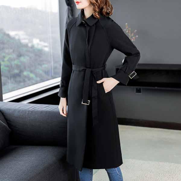 秋季韩版时尚收腰英伦风长款过膝风衣外套优惠券