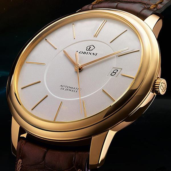 【瑞士品牌】罗宾尼正品薄款商务机械手表13016优惠券