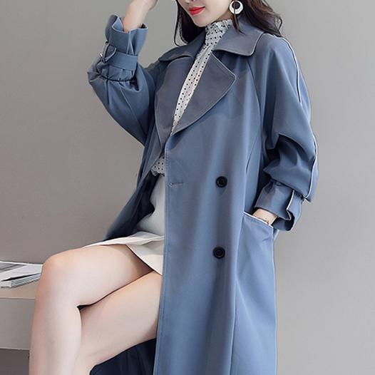 秋冬装新款女宽松纯色长袖薄款大衣过膝优惠券