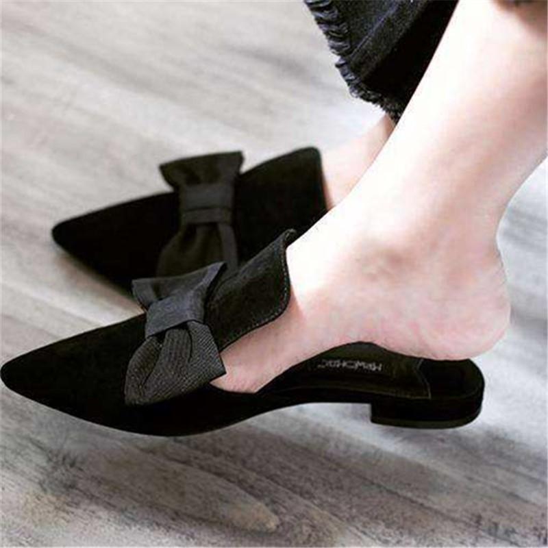 韩国简约气质低跟包头穆勒鞋