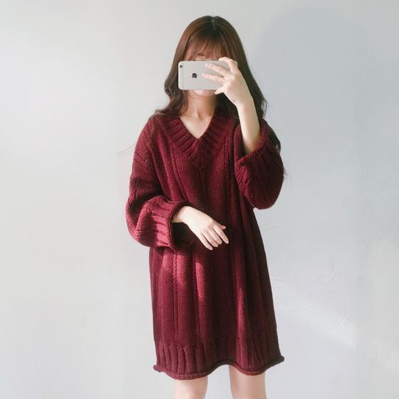 韩版套头V领纯色毛衣裙优惠券