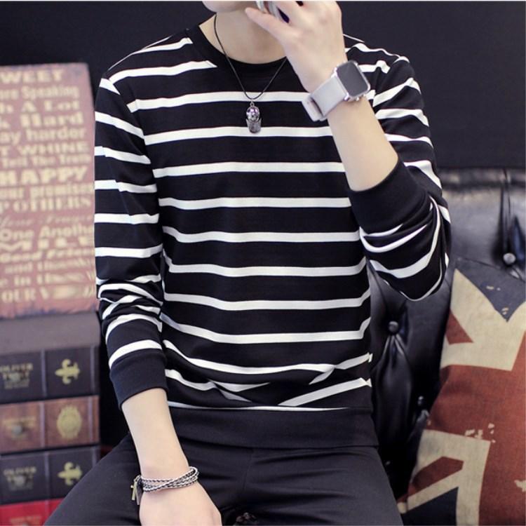 新品长袖T恤圆领套头男式卫衣休闲条纹青少优惠券