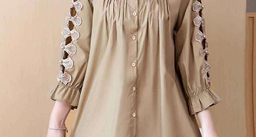 简约休闲翻领镂空七分袖衬衫宽松新款衬衣女优惠券