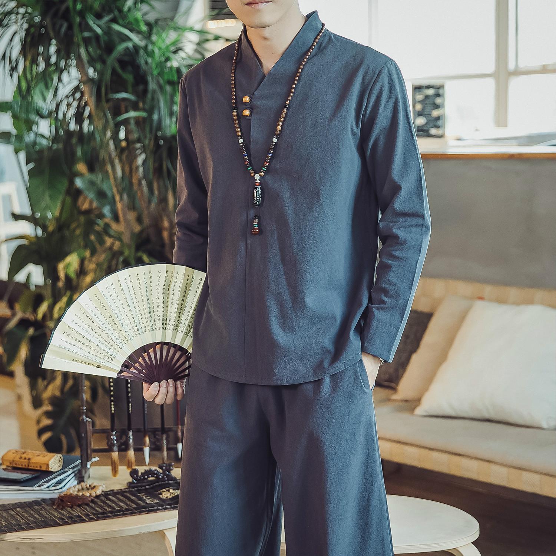 【中国风】亚麻T恤+长裤套装棉麻男装唐装优惠券