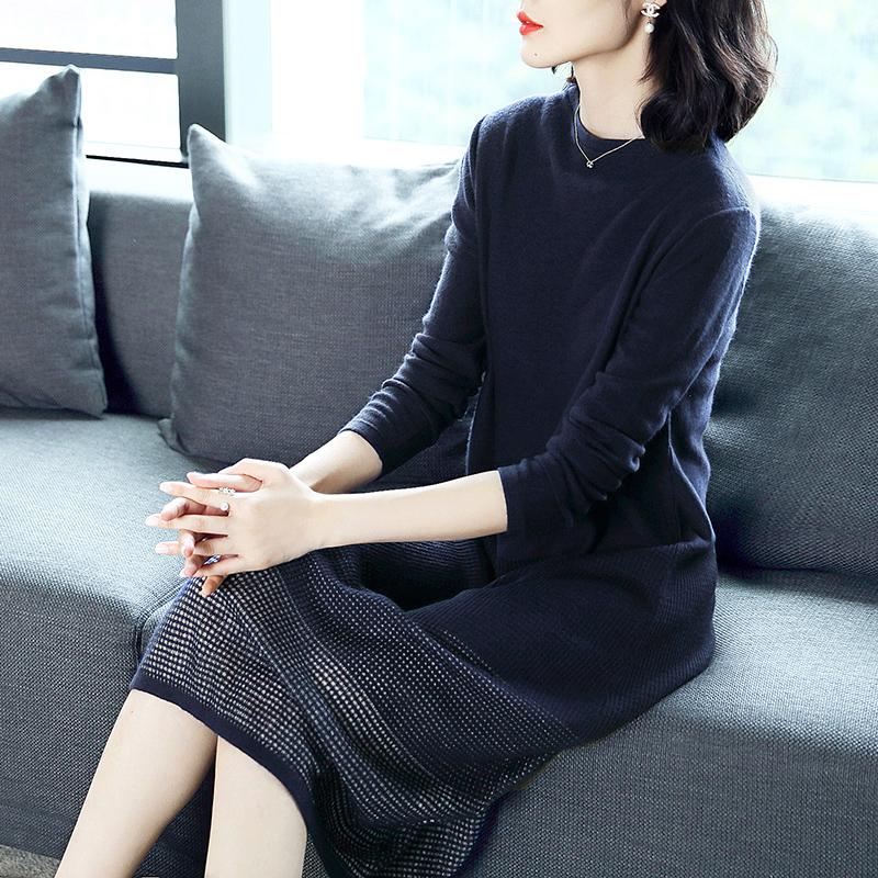 秋季显瘦圆领镂空打底毛衣裙优惠券