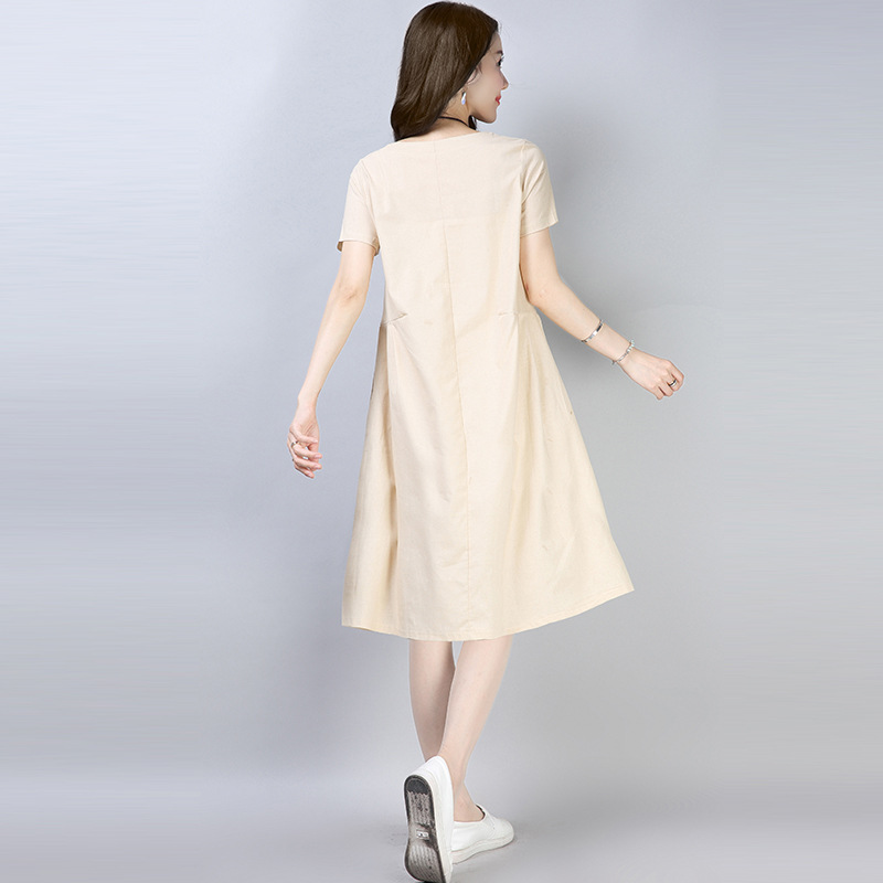 短袖大码a字裙纯色宽松休闲中裙A字裙棉优惠券