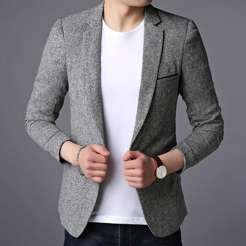 2018秋季新款男式西服领外套韩版修身薄优惠券