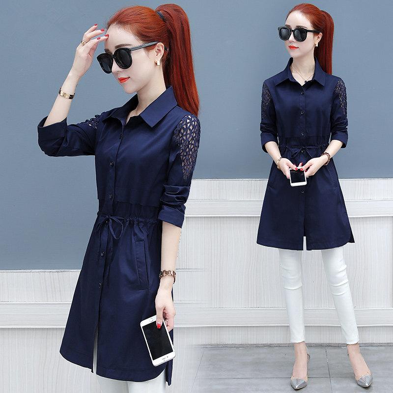 秋季韩版收腰显瘦中长款长袖风衣外套女优惠券