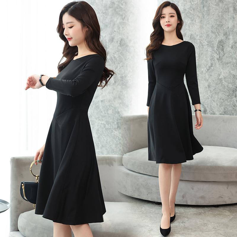 秋装新款小黑裙过膝长裙优惠券