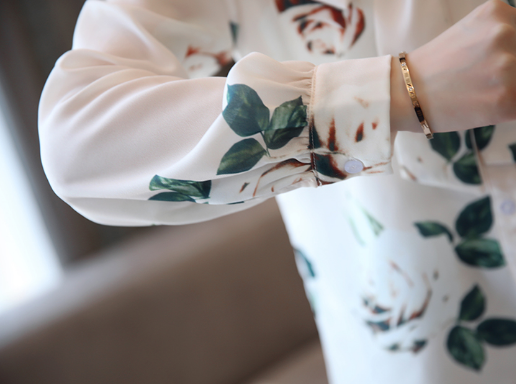 碎花雪纺衫秋新款时尚甜美遮肚子蝴蝶结小衫优惠券