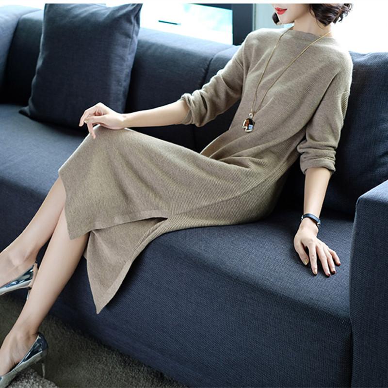 早秋新款长袖宽松显瘦开叉针织连衣裙毛衣裙优惠券