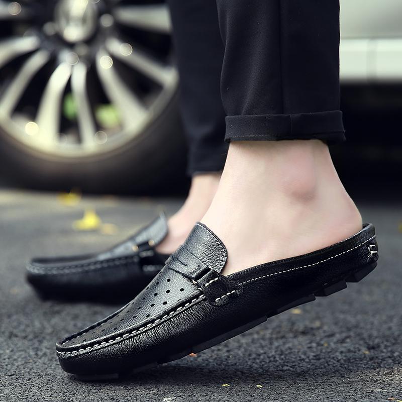 夏季透气懒人真皮凉鞋