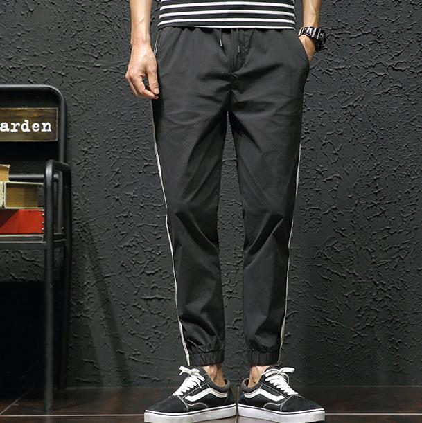 运动裤男条纹休闲裤薄款宽松韩版三条杠束脚优惠券