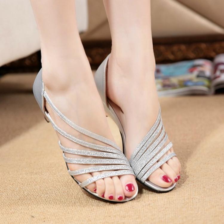 ESX亮片鱼嘴女凉鞋坡跟低跟女鞋优惠券