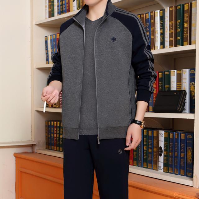 中老年男士大码运动服套装休闲裤卫衣两件套装开衫优惠券