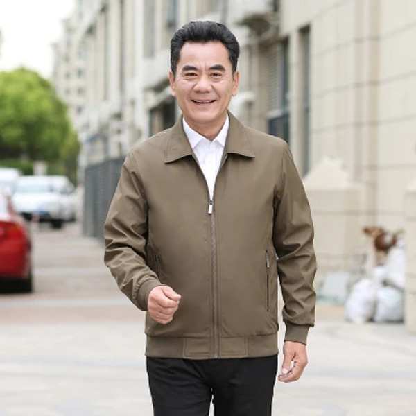 中年男夹克衫春秋薄款外套翻领中老年夹克优惠券