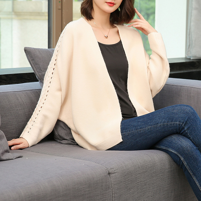秋季新款韩版镂空蝙蝠袖V领针织小开衫宽松优惠券
