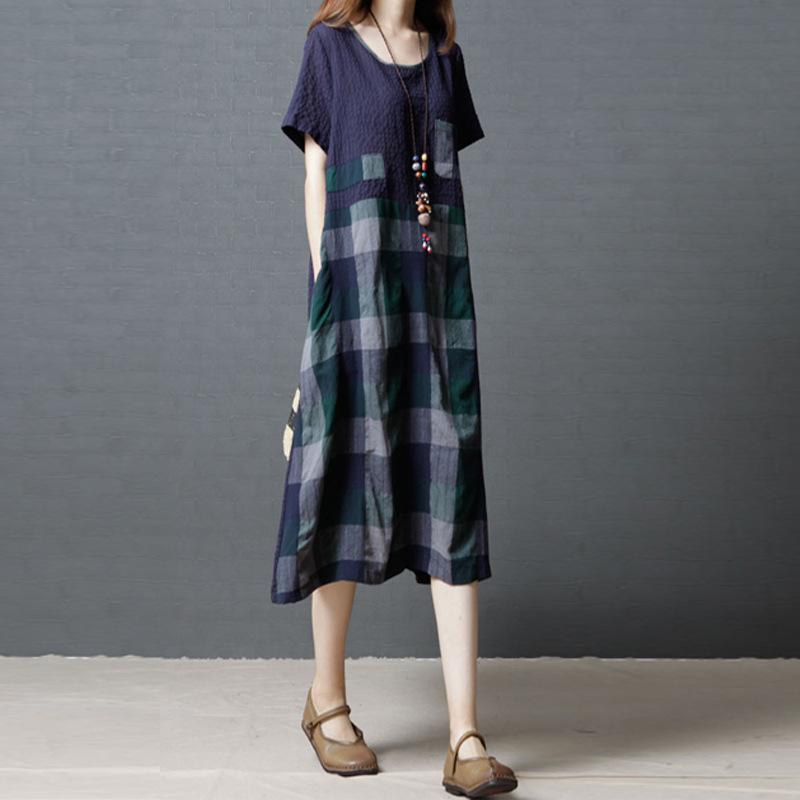 宽松时尚中长款拼接短袖连衣裙优惠券