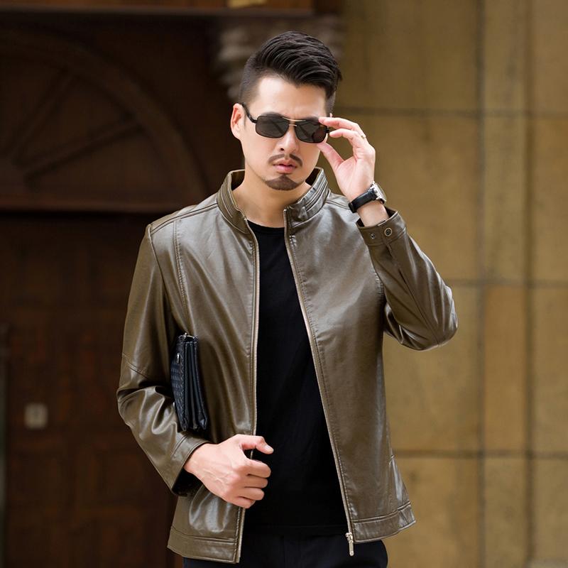 男士皮衣外套大码男装休闲立领皮夹克优惠券