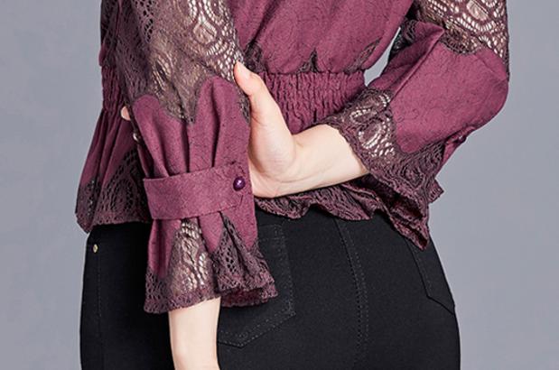【货到付款】秋装新款镂空蕾丝小衫女装优惠券