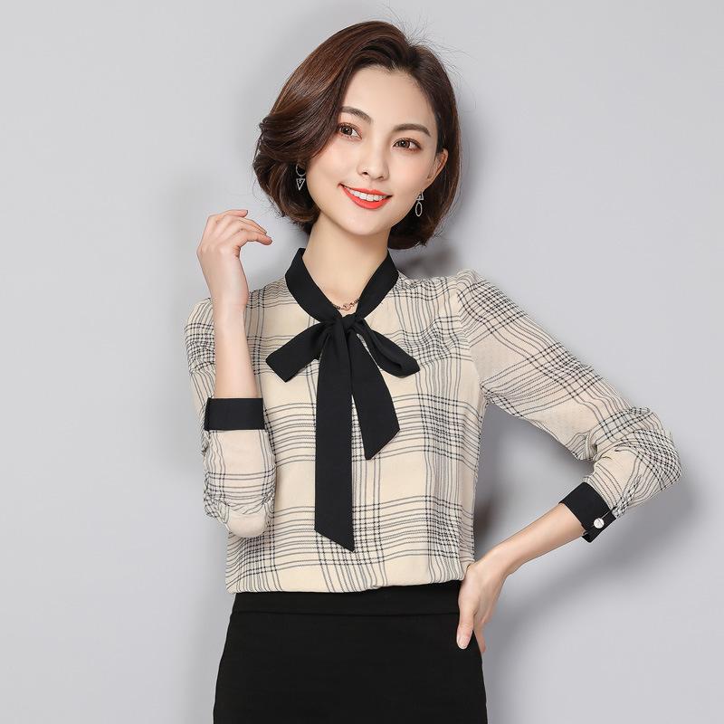 格子雪纺衬衫女长袖2018韩版宽松衬衣优惠券