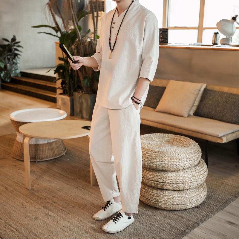 中国风汉服民族服装棉麻短袖T恤长裤套装优惠券