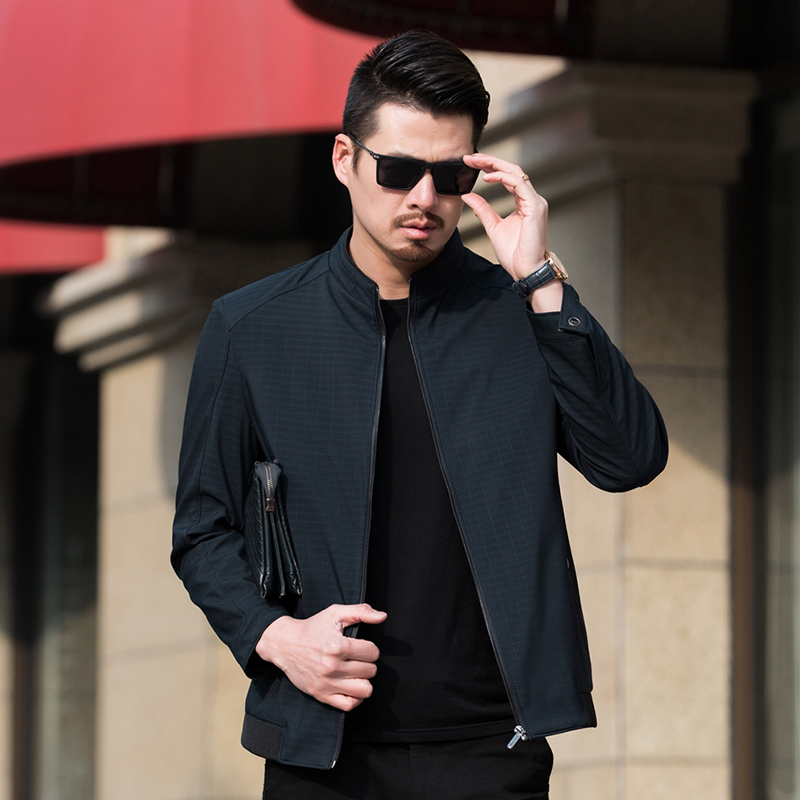 立领夹克 中年男士大码男装休闲夹克外套优惠券