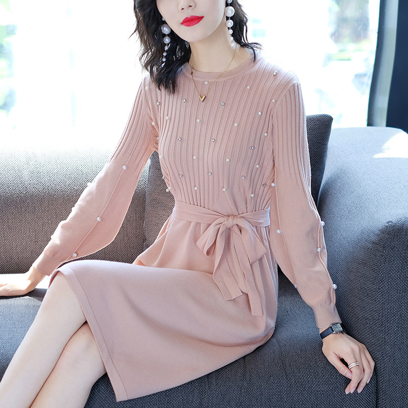 秋装新款长袖小香风中长款蝴蝶结重工裙优惠券