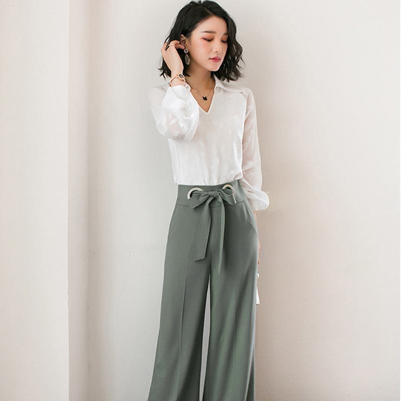 纯色搭配洋气阔腿裤气质套装