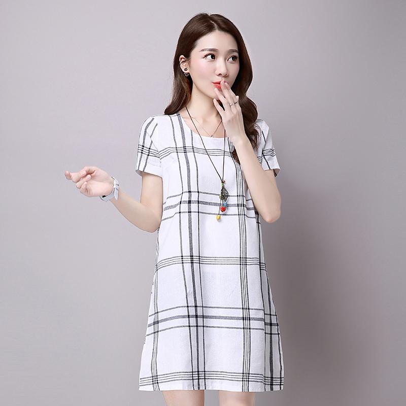 2019夏季新款大码文艺范棉麻连衣裙 YQW034优惠券