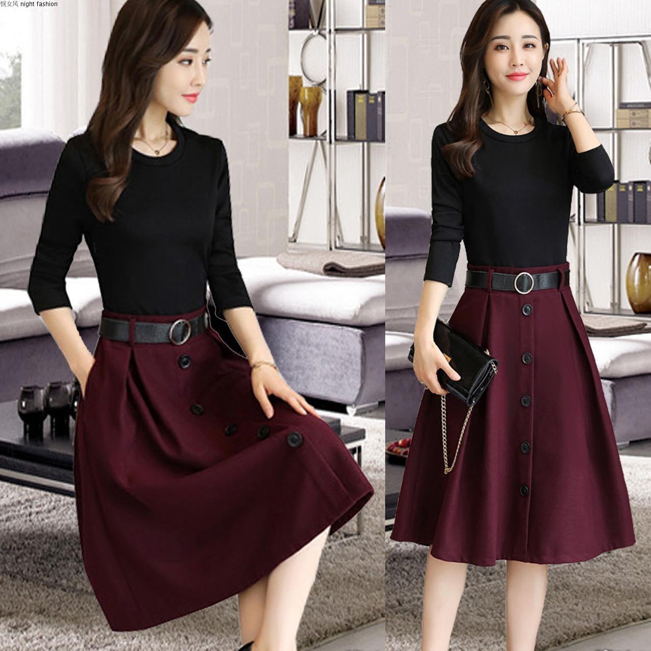 长袖韩版时尚修身时髦假两件套装裙优惠券