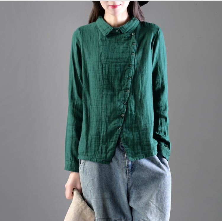 新款清新文艺双层棉纱衬衫复古斜襟优惠券