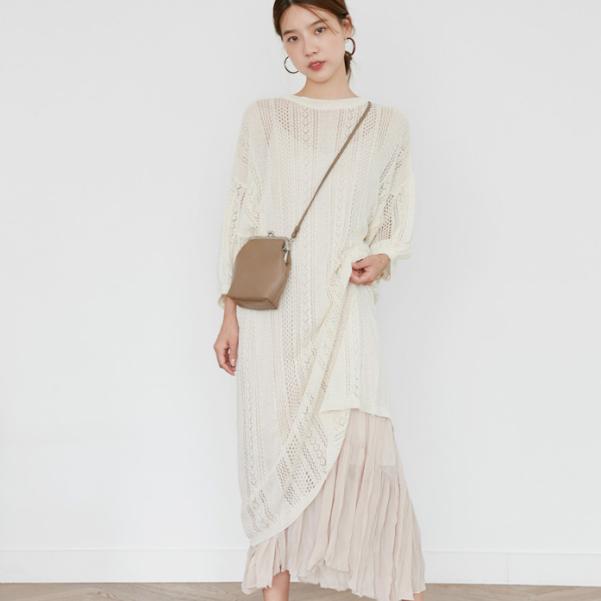 少女系镂空针织罩衫吊带连衣裙长裙两件套优惠券