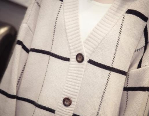 秋装新款V领格子针织纽扣开衫外套优惠券