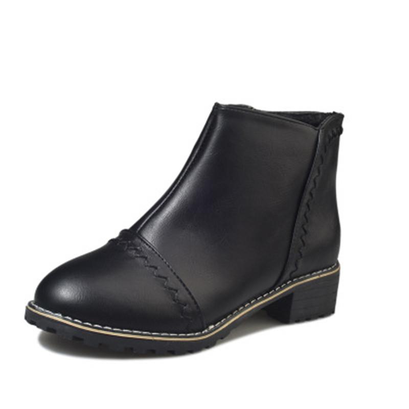 2018新款短靴女粗跟圆头中跟靴子优惠券