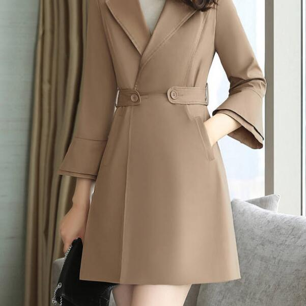 新款修身风衣女秋收腰喇叭袖显瘦中长款风衣优惠券